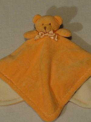 Blankets and Beyond Orange Cream White Teddy Bear Baby Security Blanket
