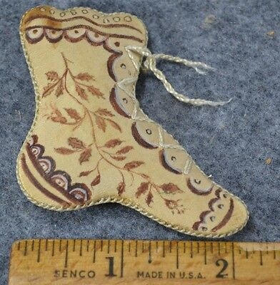 sewing emery pin keeper boot hand made painted mid 19th c OOAK antique original