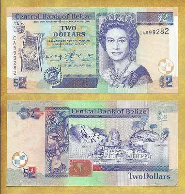 Belize 2 Dollars 1999 Unc P-60a Prefix CA Currency Banknote  ***USA SELLER***
