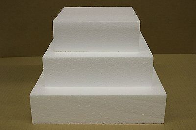 "Set of Three 5"", 7"" and 9"" Square Straight Edge Cake Dummies 3"" High - Free"