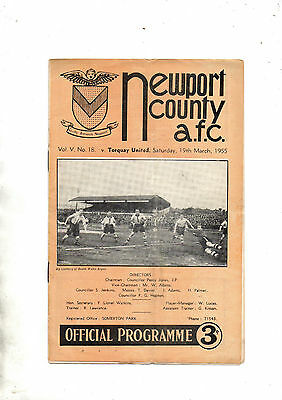 NEWPORT COUNTY v TORQUAY UNITED 1954/5