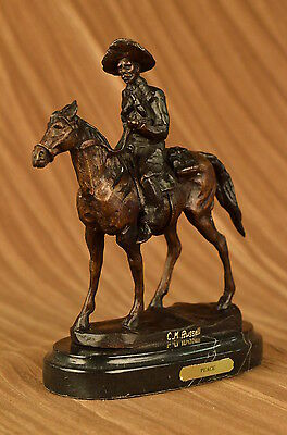 """WILL ROGERS "" by Charles Russell Bronze Statue Sculpture Art With Marble Base"