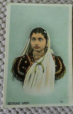 Vintage Ethnic Postcard Of A Bengali Lady