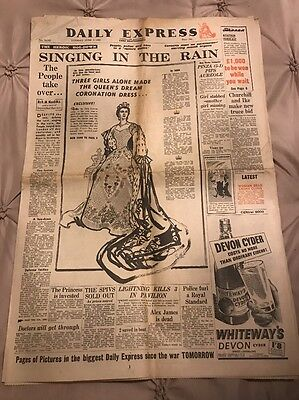 Vintage Newspaper Daily Express 2nd June 1953 Queens Coronation