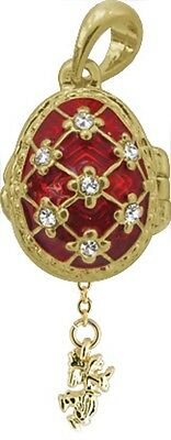 Faberge Egg Pendant / Charm with Angel 2.1 cm red #2-1026