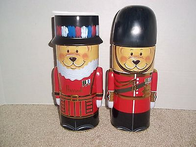 Harrods London Guardsmen & Beefeater Teddy Bear Collectible Cookie Bank/Tins 9""
