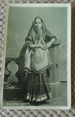 Vintage Ethnic Postcard Of A Brahmin Woman  1909