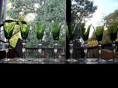 (8) Cordial liquor Glasses #3035 forest green clear Cambridge crystal antique