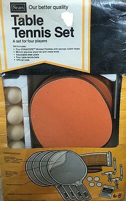 "Vintage Table Tennis Set 4 Players Sears Roebuck 66"" Slip Over Net 4 Balls New"