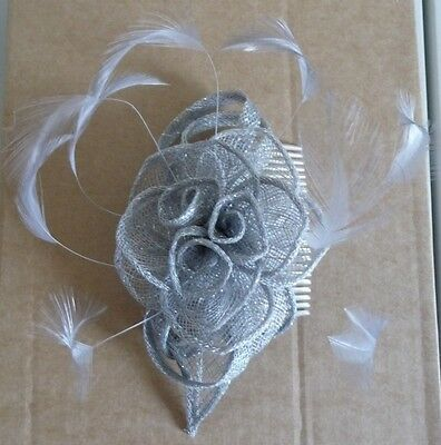 Light grey coloured Fascinator-comb fixing style-lovely condition
