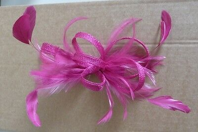 Bright pink coloured Fascinator-clip fixing style-lovely condition