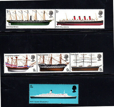 Great Britain #575-580  1969  British Ships  Mint  Vf Nh  O.g