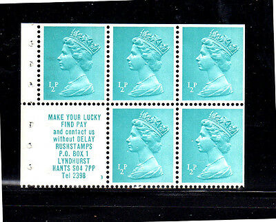GREAT BRITAIN #MH22a  1/2p  B/P OF 5 + LABEL  MINT  VF NH  O.G