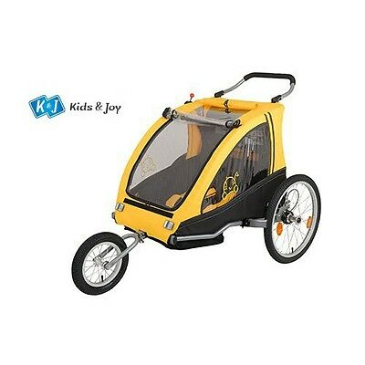 Bicycle Trailer Child Two-seater Jogger with spring Parking brake yellow
