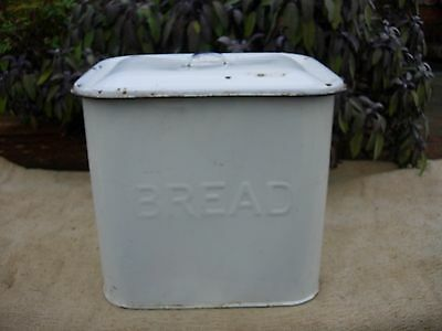Large Vintage White Enamel Bread Bin- Original {207}