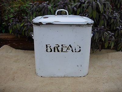 Large Vintage White Enamel Bread Bin- Original {702}