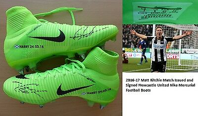 2016-17 Matt Ritchie Match Issued & Signed Newcastle United Nike Boots (11152)