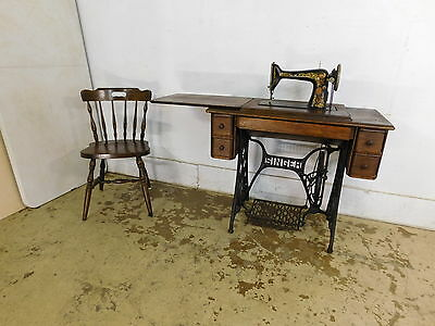 Antique 1910 Singer G Series Treadle Sewing Cabinet & Machine Oak & Iron Stand