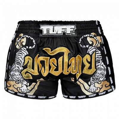 TUFF Muay Thai Boxing Shorts Black Retro Style Double Tiger  Gold Text size XL