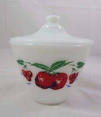 Anchor Hocking Fire King Apple Cherry Cherries Milk Glass Grease Jar Lid Vintage