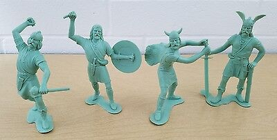 "Lot of 4 Marx 1964 Vikings 6"" Tall Plastic Figures Fighters Army Vintage HTF"