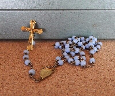 Vintage Small Rosary 18 inch Chain Blue beads Lourdes Crucifix