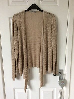 "Ladies Size 22 Beige Linen Rich Waterfall type of cardigan by ""Marks & Spencers"""