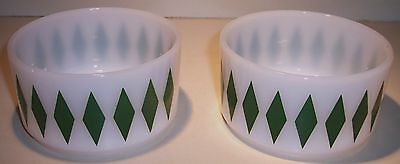Vintage White Fire King Oven Wear Green Diamond Pattern Cereal Bowls 2