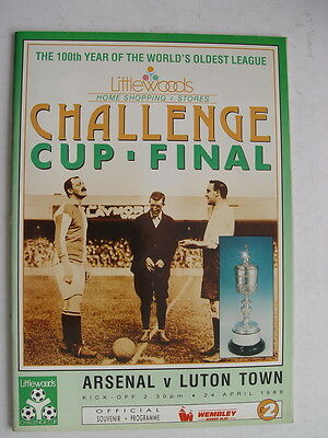 Arsenal v Luton Town 1988 Littlewoods Challenge Cup Final