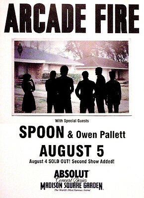 """ARCADE FIRE Orig Concert Poster Madison Square NYC 14""""x19""""Rare 2010 Mint"""