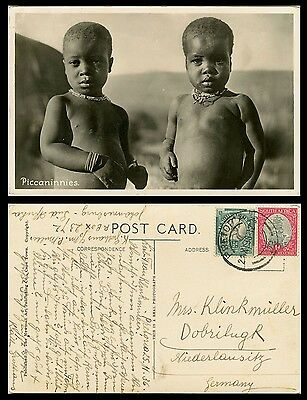 PICCANNINIES, SOUTH AFRICA  & ORIGINAL ca 1936 REAL PHOTO POSTCARD TO GERMANY