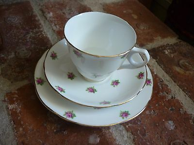 Bone China Ditsy Rose Chintz Trio. Cup, Saucer, Side Plate