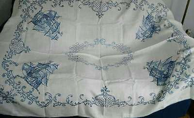 Vintage Ships Nautical Tablecloth Embroidered in Blue 64 x 104""