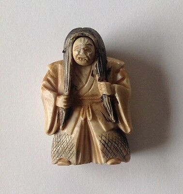 Vintage Netsuke Signed, Man with Rotating Head, Japan