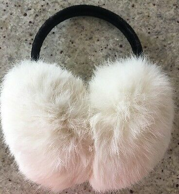 White Rabbit Fur Earmuffs Ear Muffs