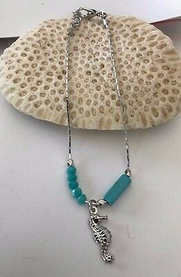 """Seahorse Anklet Turquoise Color beads Stone Silver Tone 9"""" L 2"""" extender New"""