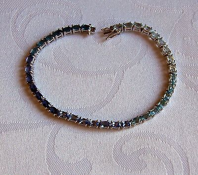 Beautiful 925 Silver Mixed Gem Stone Bracelet (LF12)