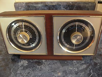 Vintage Taylor Weather Station Wood 2 Dial Barometer Temp Humidity Works