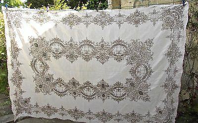 Large Heavy Quality Hand-Embroidered Linen Tablecloth