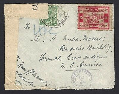 India WW1 1/2a OUR DAY War Fund label used on 1918 censored cover to USA