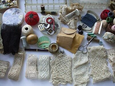 Vintage Antique Sewing Notions Laces Thread Racks Thimble Wood Darning Ball +++