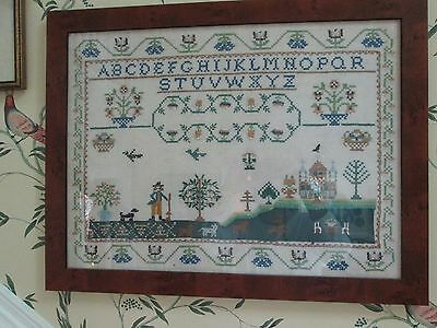 Completed Cross Stitch Sampler Vintage Embroidery Antique Style Country Decor