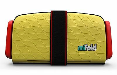 mifold Grab-and-Go Car Booster Seat Yellow & Red 40-100 Pounds Taxi Travel