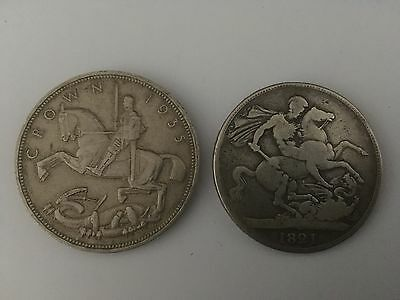 1821 king george silver crown & a 1933 george & the dragon silver crown coin.