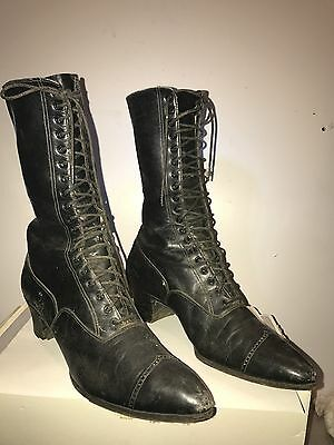 Vintage Antique Victorian BOOTS Black High Top Leather + Lace Up Pointed Toe ORG