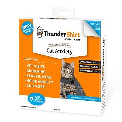 THUNDERSHIRT Classic for CATS MEDIUM SOLID GRAY Removable Collar 9-13 lbs M CAT