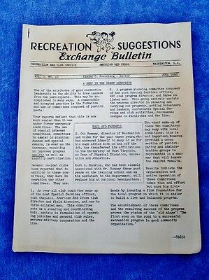 WWII Club Recreation Suggestions Exchange Bulletin AMERICAN RED CROSS  June 1946