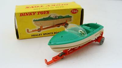Dinky 796 Healey Sports Boat & Trailer Mint Condition in  Original Box UK / ship