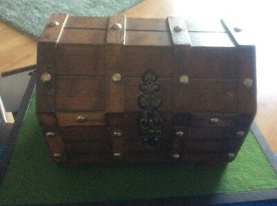 Vintage Large Wooden Pirate Treasure Chest Jewellery Box
