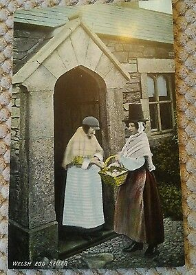 Vintage Postcard Welsh Egg Seller